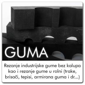 Rezanje industrijske gume bez kalupa kao i rezanje gume u rolni (trake, brisači, tepisi, armirana guma i dr...)